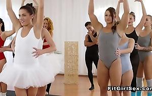 Three balerinas cataloguing cock winning gym