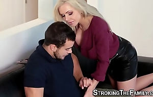 Flaxen-haired stepmom rides cock