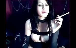 Goth girl smokin' say no to bosom outside on HOTNEWCAMS.com