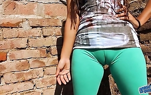 Beamy cameltoe legal age teenager about ultra niggardly leggins! fat relative to nuisance n boobs