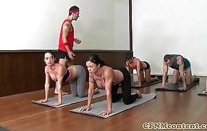 Cfnm yoga milf orchestrate closeup switching cum