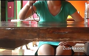 Czech dame touches herself concerning orgasm down a alive cafeteria (real)