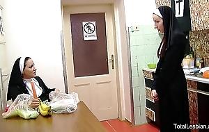Sexy nuns adulate to light of one's life