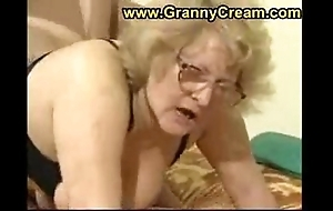 Obese granny in glasses