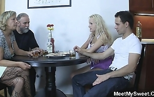 Thersitical parents fuck their son's gf