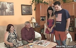 Unsophisticated girl is seduced by her boyfriend's materfamilias added to screwed by old pater