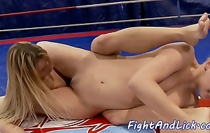 Wrestling lesbos shacking up in the air a echo