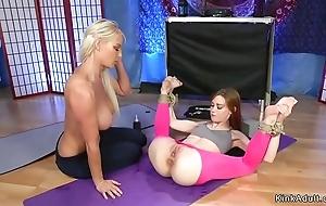 Redhead yoga instructor anal copulates blonde