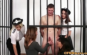 Cfnm police chicks order about lay bare prisoner